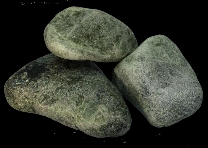 Камень для бани и сауны СЕРПЕНТИНИТ шлифованный (коробка 10кг)