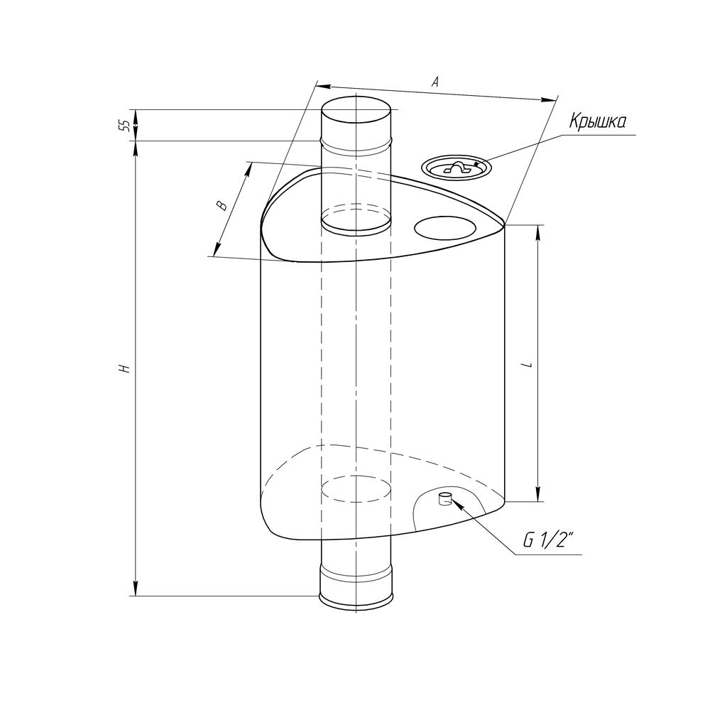 Бак на трубе для горячей воды «Феррум» 55 л, d 115, нерж. сталь 1 мм