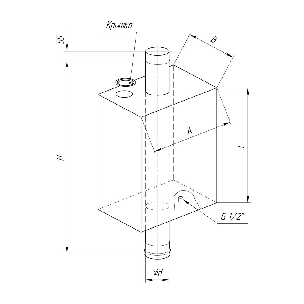 Бак на трубе для горячей воды «Феррум» 73 л, d 115, нерж. сталь 1 мм