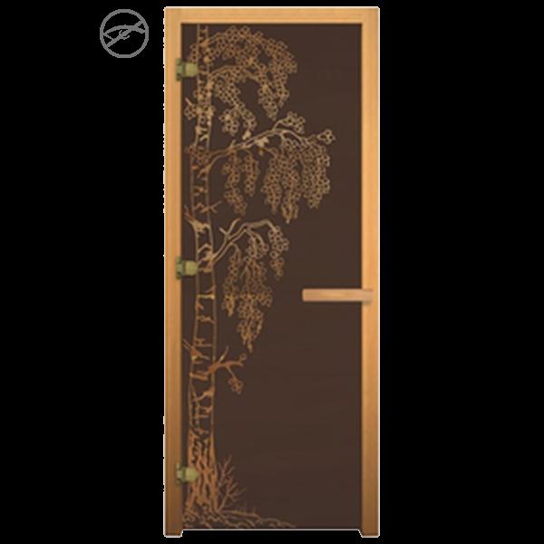 Дверь стеклянная Бронза Матовая «Берёзка», Осина