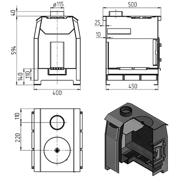 Отопительная печь «Везувий Комфорт 100» (ДТ-3С)