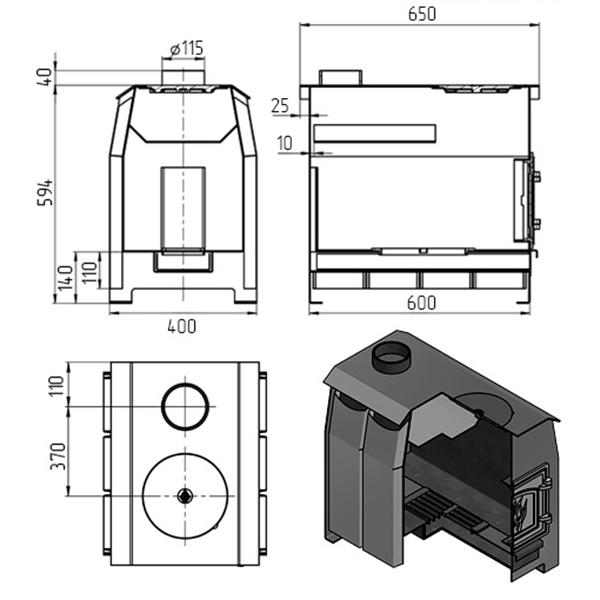 Отопительная печь «Везувий Комфорт 200» (ДТ-3С)