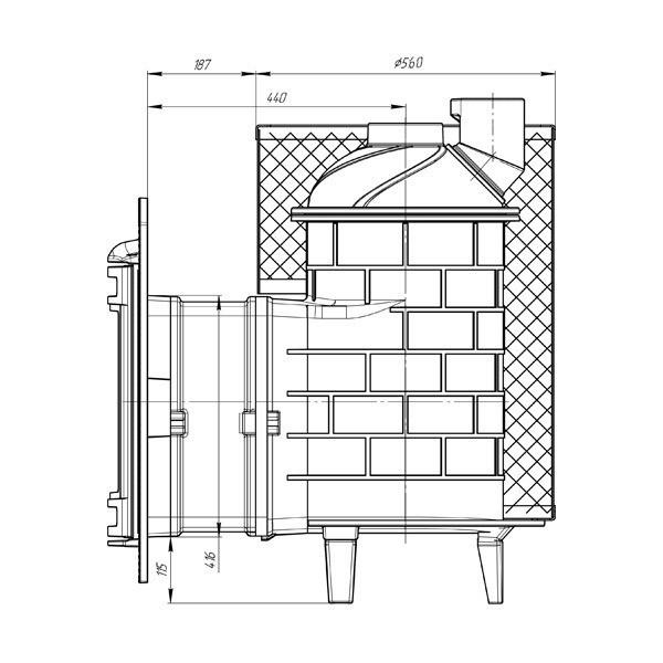 Банная печь Атмосфера с сеткой для камней из нержавеющей стали