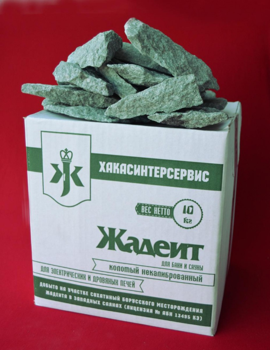 Камень для бани и сауны Жадеит некалиброванный (коробка 10кг)