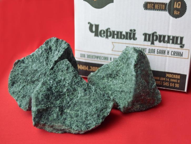 Камень для бани и сауны Пироксенит «Черный принц» колотый (коробка 10кг)