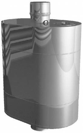 Бак на трубе для горячей воды 43 л, d 115, нерж. сталь 0,5 мм