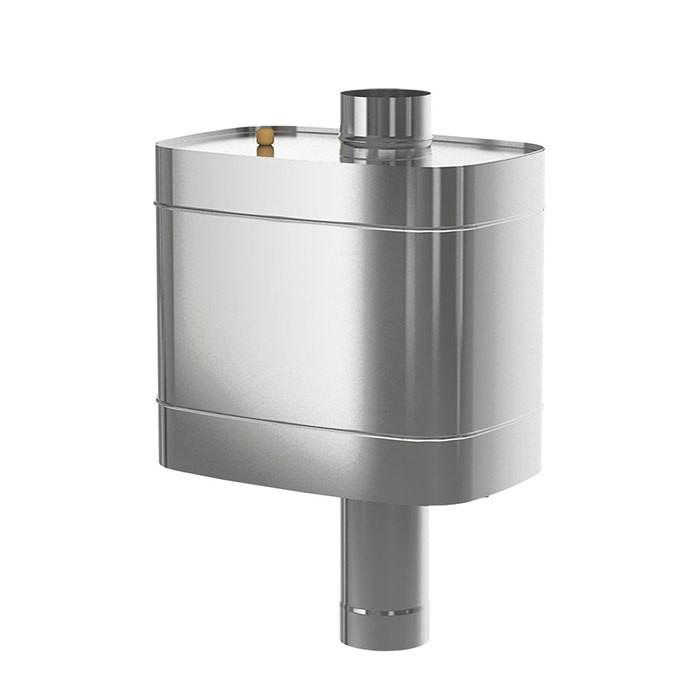 Бак на трубе для печи, ф 115, 70 л., 0,8 мм, нержавейка (штуцер 2 шт)